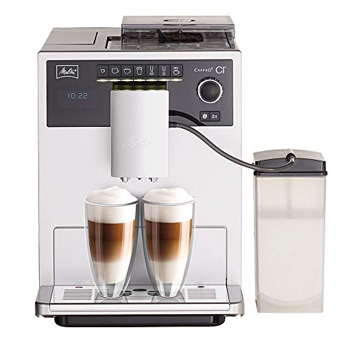 Melitta Caffeo CI E970-101 Kaffeevollautomat | mit Milchbehälter | Zweikammern-Bohnenbehälter | One Touch Funktion | 15 Bar | Automatische Reinigungsprogramme | Silber