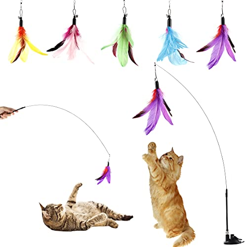 Cat Feather Toys Interactive Cats - Dorakitten Cat Powerful Suction Cup Handheld Teaser Wand Toy and 5PCS Replacement Feather with Bell for Kitty Kitten Scratching Exercise Indoor