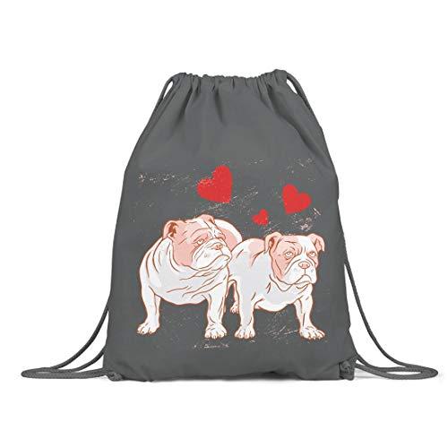 BLAK TEE English Bulldog Love Organic Cotton Drawstring Gym Bag Grey