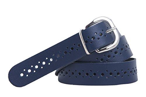 shenky - Cinturón de cuero perforado - 3 cm de ancho - Azul marino - Cintura de 70 cm