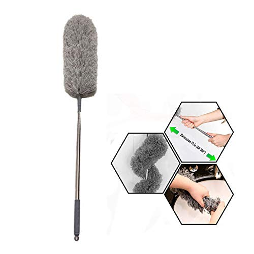 """Microfiber Telescoping Duster with 100"""" Extra Long Pole(Stainless Steel) Detachable Bendable Head, Washable for Cleaning Roof, Ceiling Fan, Blinds, Cobwebs,Furniture & Cars"""