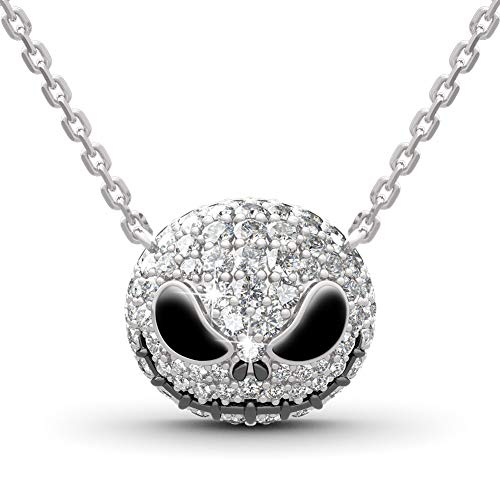 JEULIA Skull Nightmare Necklace for Women 925 Sterling Silver Skull Pendant Necklace Halloween Jewelry Valentine Birthday Gifts for Women Bride Teen Girls