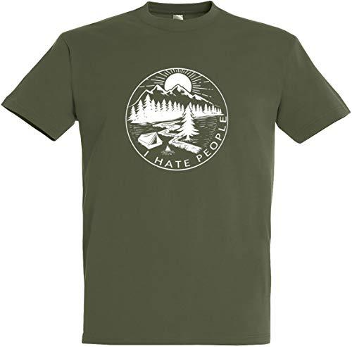 Preisvergleich Produktbild Herren T-Shirt I Hate People S bis 5XL (Olive,  XL)
