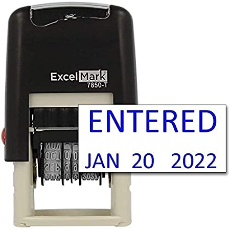 PrintValue Office Date Stamp with Invoice Self Inking Date Stamp Blue//Red Ink