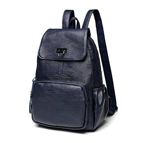 Ladies backpack casual leather handbags portable ladies travel student backpack-blue_14 inches