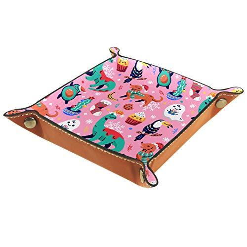Bandeja de Cuero Perros de dinosaurio de Navidad de patrón rosa Almacenamiento Bandeja Organizador Bandeja de Almacenamiento Multifunción de Piel para Relojes,Llaves,Teléfono,Monedas