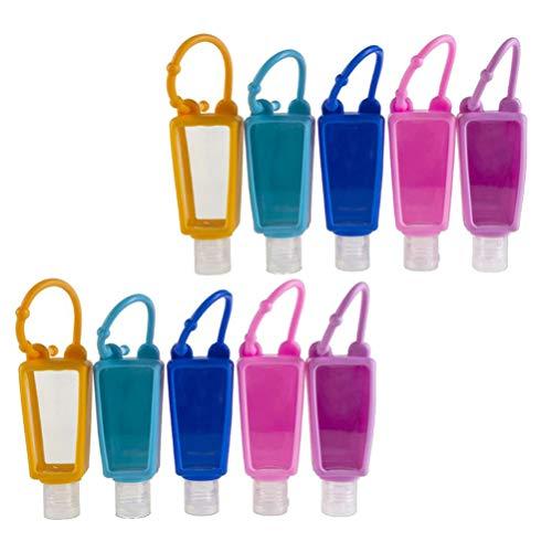 FRCOLOR Paquete de 10 Botellas Transparentes de Plástico de Viaje con Funda de Silicona Recipientes para Apretar Vacíos Multifunción Transparentes con Tapa Abatible para Viajes Escolares
