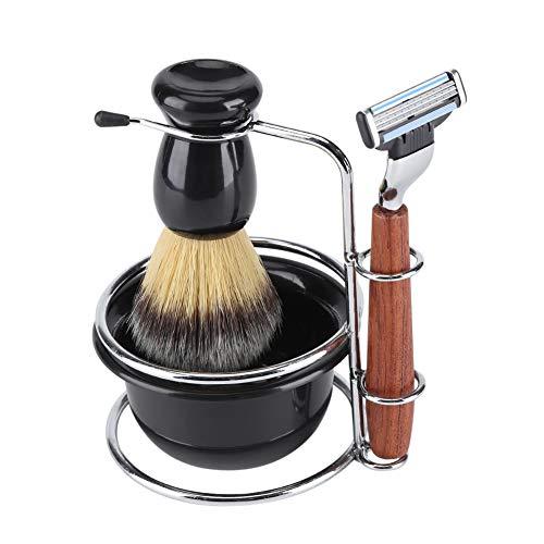 GOTOTOP Juego de Afeitado de 4 Piezas con brocha de Afeitar, Cuenco y Soporte para maquinilla de Afeitar, Juegos de Aseo para Hombres, Herramientas de Afeitado