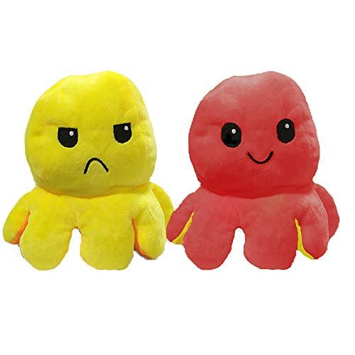 EUROXANTY Peluche Pulpo Reversible | Peluche emociones | Pulpo de Colores | Peluche Blando | 2 Caras | Pulpo Contento | Pulpo enfadado | 20 cm | Rojo - Amarillo