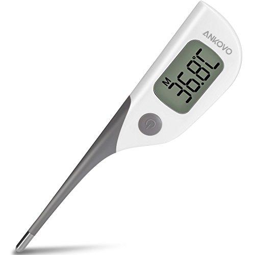 ANKOVO Termómetro Rectal Digital de Lectura Rápida en 8 Segundos con Punta Flexible para la Medida de Temperatura Oral, Rectal o en la Axila para Bebés, Niños y Adultos