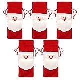5 unids/set fundas para botellas de vino Papá Noel cordón de Navidad cubierta de botella de vino tinto bolsas cena fiesta decoración de mesa regalo de Navidad