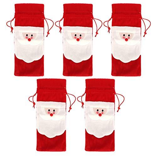 Cubierta de botella de vino, 5 piezas de Papá Noel con cordón de Navidad para botella de vino tinto bolsas de cena fiesta decoración de mesa regalo de Navidad