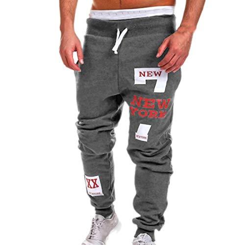 KPILP Herren Männer Chino Stoffhose Jeans Lange Hose Mode Freizeithose Jeanshosen Beiläufig Hose Jogginghose (Dunkel grau,XL)