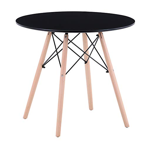 GOLDFAN Dining Table Modern Round Kitchen Table with Natural Beech Wood Legs and Matt Spray Paint, Black, 80cm(Table Only)