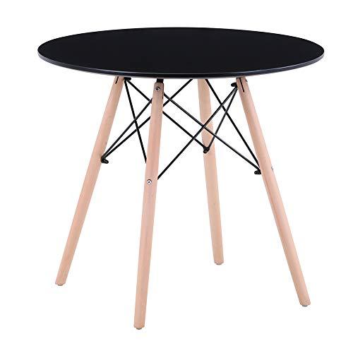GOLDFAN Moderna 80 cm Mesa de Comedor Pequena de Cocina Redonda Adecuada para Comedor Sala de Estar Oficina, Negro