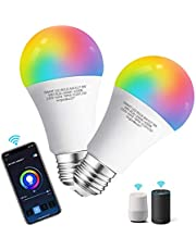 Aigostar Smart WiFi Bulb A60 E27 Screw,WiFi Smart Switch,Works with Alexa and Google Home,Colour-Changeable,9W LED Light Bulbs,Dimmable 3000K-6500K White and RGB Bulb, No Hub Required[Energy Class A+]