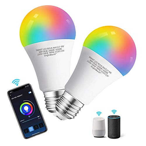 Aigostar 2 Pack Bombilla LED inteligente WiFi A60, 9W, E27 casquillo gordo, RGB + CCT. Regulable multicolor + luz cálida o blanca 3000 a 6500K, 800lm. Compatible Alexa y Google Home, energética A+