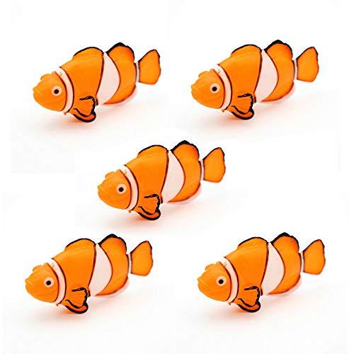 GOOTRADES 1 Stk/5 Stk Glühender Effekt Künstlicher Clownfisch, Aquarium Verzierung Fisch Tank Jellyfish Dekor (5 Stk)