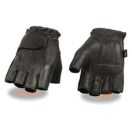 Milwaukee Leather SH850 Men's Black Deerskin Full Panel Fingerless Gloves with Gel Palm - X-Large