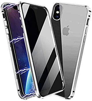 Privacy Magnetic Case for iPhone X/Xs Anti Peep Magnetic Adsorption Privacy Screen Protector Double Sided Tempered Glass Metal Bumper Frame Anti-Peeping Phone Case Anti-Spy Cover for iPhone X/Xs
