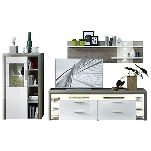 CELIA Wohnwand Komplett-Set in Silber-Eiche Optik - Moderne Softclose Schrankwand für Ihr Wohnzimmer - 295 x 165 x 47 cm (B/H/T)