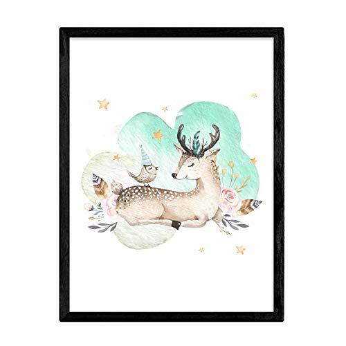 Nacnic Poster con ilustración de Animal. Lámina con imágenes Infantiles de Animales. Cervatillo y Pajaro. Tamaño A3 sin Marco