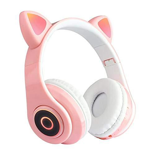 YOUANG Audífonos inalámbricos con micrófono, lindos oídos de gato LED luz intermitente, sonido estéreo HD, almohadillas suaves plegables, para teléfonos móviles, tabletas y ordenadores portátiles
