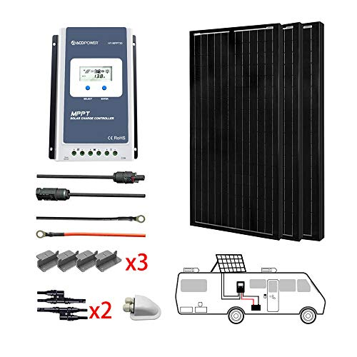 ACOPOWER 300 Watts 12/24 Volts Monocrystalline Panel Solar RV Kits with 30A MPPT LCD Charge Controller/Mounting Brackets/Y Connectors/Solar Cables/Cable Entry housing