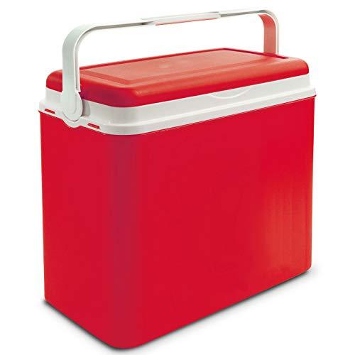Kühlbox Kühltasche Kühlbehälter mit Deckel für Getränke Flaschen Speisen groß 24 Liter rot Camping Auto LKW Sport Garten Reise Strand Picknik Caravan Wandern robust einfach passiv Kühlboxen Styropor