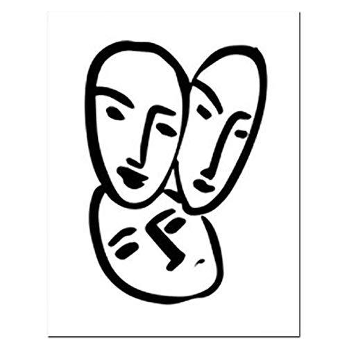 WDQTDW Leinwanddruck Wandbilder,Henry Matisse Abstract Portrait Poster Prints Frau Gesicht Linie Artwork Leinwand Gemälde Schwarz Weiß Minimalistischen Kunst Bild Ohne Rahmen