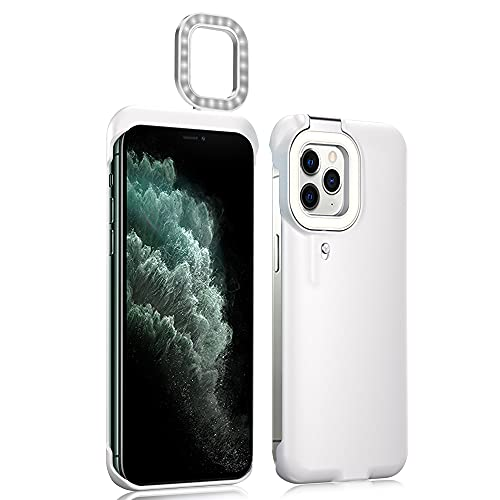 Akcoo Selfie Ring Light Case for iPhone 11 Pro,4 Light Models with Bulit-in Battery LED Flash Luminous Cover for Make up/Vlogs/Live Streaming/Party (White)