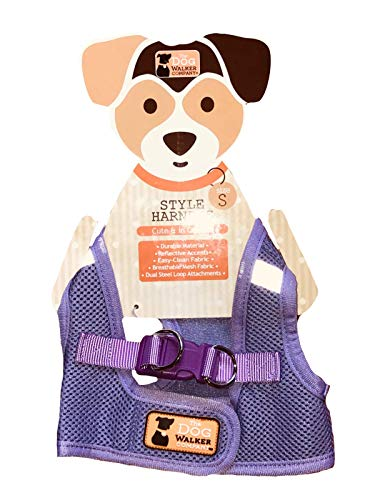 The Dog Walker Company Reflector Accent Harness Small Dogs 4-5lbs. (Lavender with Pink Buckle)
