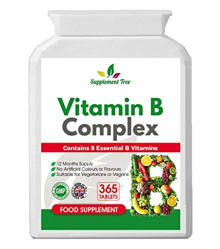 Vitamin B Complex 365 Tablets - with B1, B2, B3, B5, B6, B12, Biotin, Folic Acid - UK Manufactured