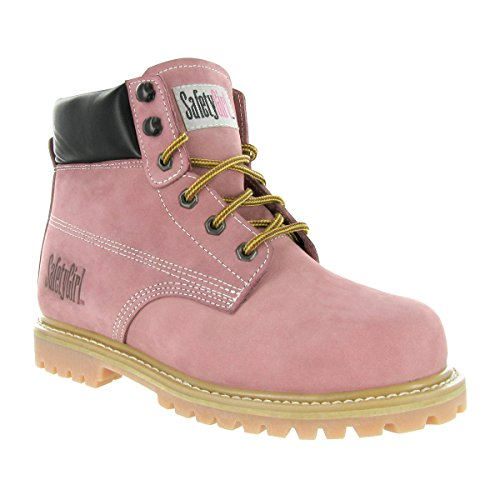 """SafetyGirl GS002 Nubuck Leather Steel Toe Water resistant Womens Work Boot, 6"""" Height, 8.5W, Light Pink"""