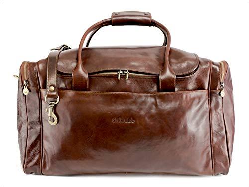 Stilklubb - Borsa da viaggio in pelle con personalizzazione marrone con iniziali, grande bagaglio a mano, stile vintage, vintage, con chiusura lampo (53 x 30 x 27)