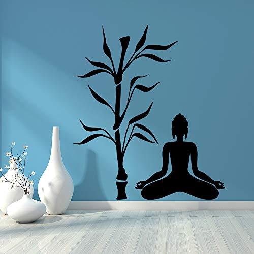 TYLPK Creative Buddha Bamboo Wall Sticker Accesorios de decoración del hogar Impermeable Tatuajes de pared Sticker Mural Negro M 58cm X 66cm