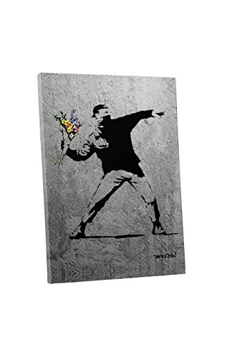 Pingo World 0829QGHITHY Flower Thrower Concrete Version Gallery Wrapped Canvas Art (45' x 30'). Bonus Free Banksy Wall Decal, Variable