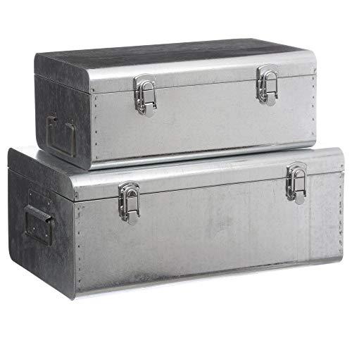FEERIC CHRISTMAS, Set di 2 scatole portaoggetti in Metallo Spazzolato, Esprit Cantine, Colore: Grigio