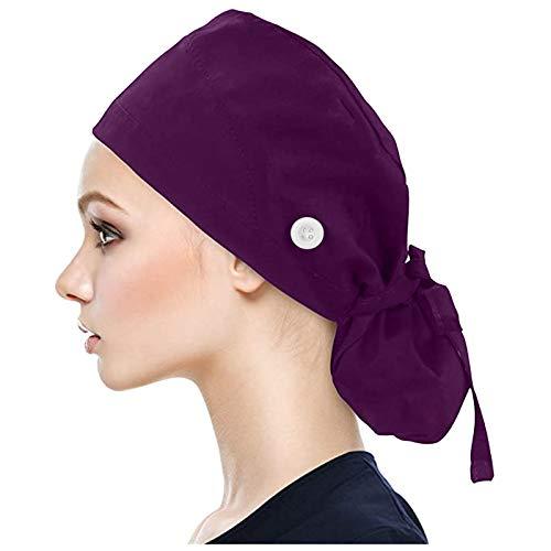 OP-Haube Unisex OP-Kappe Medizinische Kappe Bedruckte Füllig Turban Hut Verstellbare Füllig Haarabdeckung Unisex Doktor Kappe Baretthauben mit Schweißband für Arbeiterin Körperpflege Bedarf(C2)