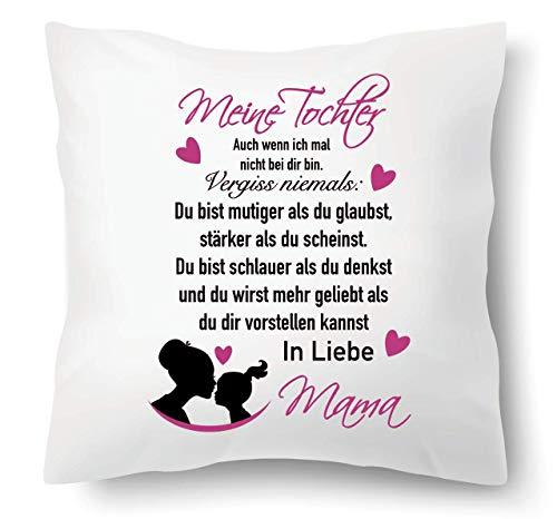 Farbwuselei Kissen mit Spruch Meine Tochter vergiss Niemals Du bist mutiger als du glaubst In Liebe Mama Kissenhülle Inlay Kissenbezug Geschenk PINK