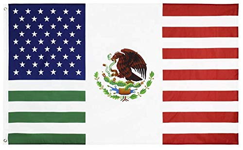 PringCor 3x5 Feet USA Mexico Friendship Flag United States American Mexican Banner