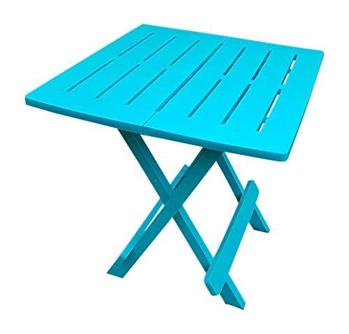 UK-Gardens Blue Resin Plastic Garden Table Lightweight Folding Outdoor Camping Side Table