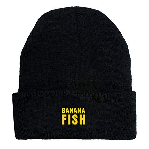 gerFogoo Anime Banana Fish Winterhüte Stickerei Schädel Mützen Hut Kappe Hip Hop Strickmütze(Black 2)