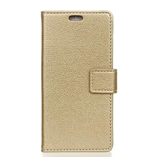 Mingxian For el Caso del tirón del Cuero Horizontal Huawei P30 Textura del lichí con el sostenedor y Marco de Fotos y Hebilla de Doble Cara (Color : Gold)