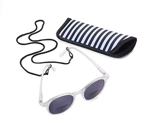 TROIKA Sun Reader 2 – SUR30/WH – Gafas de Sol y Lectura graduación +3,00 dpt – bifocal – con Estuche – policarbonato/acrílico/Microfibra – Blanco – TROIKA-Original