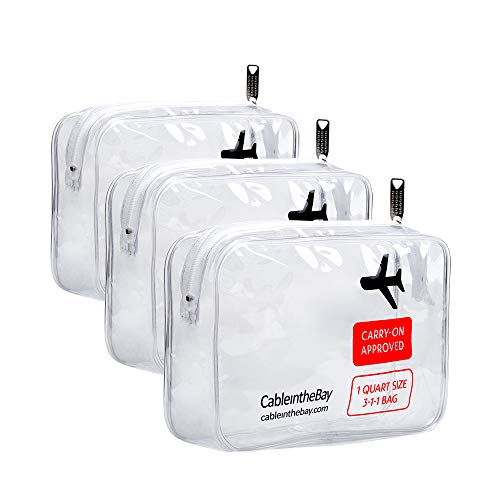 TSA Approved Toiletry Bag|Clear Toiletry Bag-Quart Sized with Zipper-Airport Airline Compliant Bag/TSA Toiletry Bag (3 (PACK) Bag)