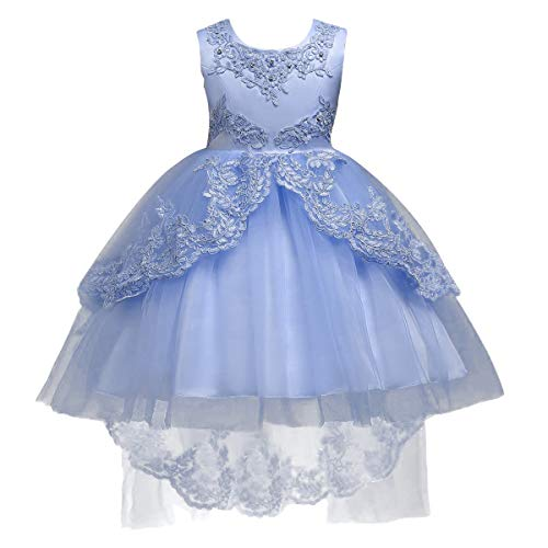 Flower Girls Vintage High-Low Tulle Lace Beaded Rhinestone Wedding Bridesmaid Dress Formal Princess Pageant Birthday Party Special Occasion Retro Dance Evening Tutu Ball Gowns Light Blue 3-4 Years