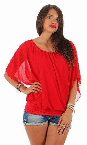 CLEOSTYLE top modische Chiffon Bluse, leichte luftige Sommer Tunika mit Carmen Ausschnitt CL 2400 (One Size (36-40), Rot)