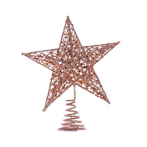Amosfun glitzernder Stern aus Eisen für die Weihnachtsbaumspitze, Dekoration, Eisen, rose gold, 25 cm