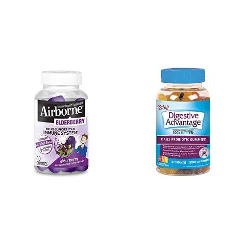 Elderberry + Vitamins & Zinc Crafted Blend Gummies, Airborne w/ Daily Probiotic Gummies, Digestive Advantage